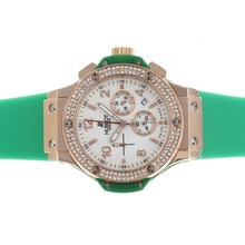 Replik Hublot Big Bang Chronograph Arbeitsgruppe Rotgold Diamond Bezel White Dial with Green Strap - Attraktive Hublot Big Bang Uhr für Sie 30570