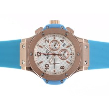Replik Hublot Big Bang Chronograph Arbeitsgruppe Rose Gold Case White Carbon Fibre Style-Zifferblatt mit blauem Streifen - Attraktive Hublot Big Bang Uhr für Sie 30567
