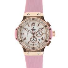 Replik Hublot Big Bang Chronograph Arbeitsgruppe Rotgold Diamond Bezel White Dial with Pink Strap - Attraktive Hublot Big Bang Uhr für Sie 30566