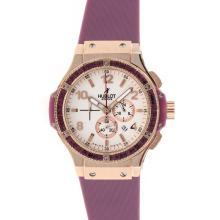 Replik Hublot Big Bang Chronograph Arbeitsgruppe Rotgold Lila CZ Diamond Bezel White Dial with Purple Strap - Attraktive Hublot Big Bang Uhr für Sie 30516