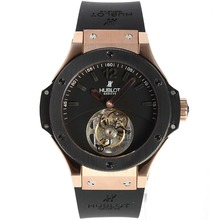 Repliki Hublot Big Bang Working Tourbillon Manual Winding Rose Gold Case with Black Dial-Rubber Strap – Attractive Hublot Big Bang Watch for You 30466