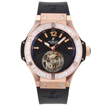 Repliki Hublot Big Bang Working Tourbillon Manual Winding Rose Gold Case Diamond Bezel with Black Carbon Fibre Style Dial-Rubber – Attractive Hublot Big Bang Watch for You 30444
