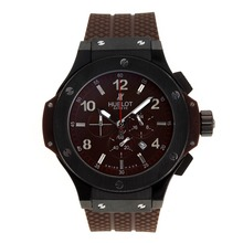 Replik Hublot Big Bang King Working Chronograph PVD Gehäuse mit Brown Carbon Fibre Style-Dial-Brown Rubber Strap - Attraktive Hublot Big Bang King für Sie 30405 Schauen