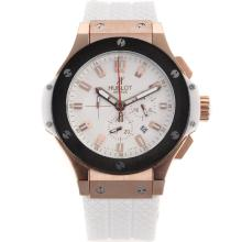 Replik Hublot Big Bang Chronograph Arbeitsgruppe Rose Gold Case mit White Dial-White Rubber Strap - Attraktive Hublot Big Bang Uhr für Sie 30248