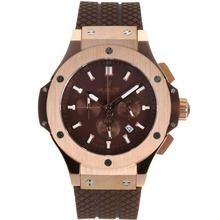 Replik Hublot Big Bang Working Chrono Rose Gold Case-Stick Marker mit Brown Dial-Rubber Strap - Attraktive Hublot Big Bang Uhr für Sie 30224