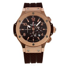 Replik Hublot Big Bang Working Chrono Rose Gold Case Stick / Anzahl Marker mit Brown Carbon Fibre Style-Dial-Rubber Strap - Attraktive Hublot Big Bang Uhr für Sie 30223
