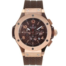 Replik Hublot Big Bang Working Chrono Rose Gold Case Stick / Anzahl Marker mit Brown Carbon Fibre Style-Dial-Rubber Strap - Attraktive Hublot Big Bang Uhr für Sie 30222
