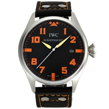 Repliki IWC Big Pilot Orange Markers with Black Dial-Leather Strap – Attractive IWC Pilot Watch for You 32062