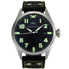 Repliki IWC Big Pilot Green Markers with Black Dial-Leather Strap – Attractive IWC Pilot Watch for You 32061
