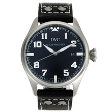 Repliki IWC Big Pilot White Markers with Black Dial-Leather Strap – Attractive IWC Pilot Watch for You 32060