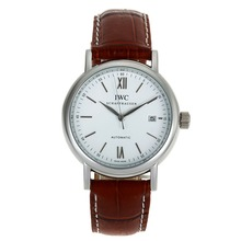 Replik IWC Portofino Automatic mit White Dial-Brown Leather Strap 32021