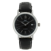 Replik IWC Portofino Automatic mit schwarzem Zifferblatt-Black Leather Strap 32020
