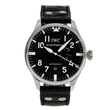 Repliki IWC Big Pilot Automatic White Markers with Black Dial-Leather Strap – Attractive IWC Pilot Watch for You 32016
