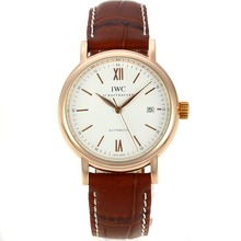 Replik IWC Portofino Automatic Rose Gold Case mit White Dial-Leather Strap 31937