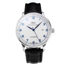 Replik IWC Portofino Automatic mit White Dial-Leather Strap-Blue Marker 31752
