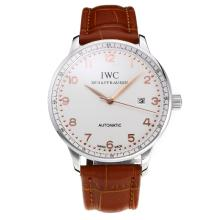 Replik IWC Portofino Automatic mit White Dial-Leather Strap-Rose Gold Marker 31751