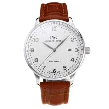 Replik IWC Portofino Automatic mit White Dial-Leather Strap-Silver Marker 31750