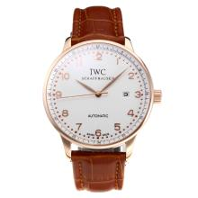 Replik IWC Portofino Automatic Rose Gold Case mit White Dial-Leather Strap 31749