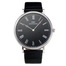 Repliki IWC with Black Dial-Leather Strap – Attractive IWC Others Watch for You 31678