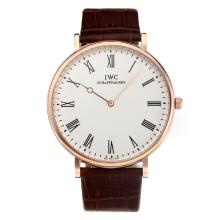 Repliki IWC Rose Gold Case with White Dial-Leather Strap – Attractive IWC Others Watch for You 31677
