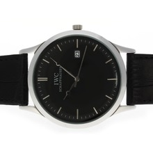 Repliki IWC Classic with Black Dial and Leather Strap – Attractive IWC Others Watch for You 32498