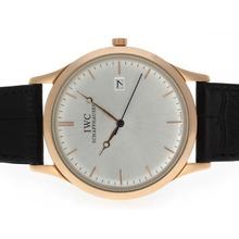 Replik IWC Classic Rose Gold Case mit Silver Dial-Leather Strap - Attraktive IWC Others Uhr für Sie 32497