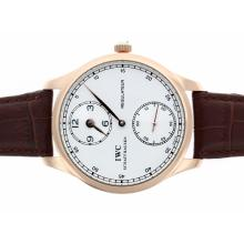 Replik IWC Regulateur Handaufzug Rose Gold Case mit White Dial-Leather Strap - Attraktive IWC Regulateur Uhr für Sie 32475