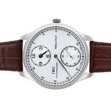 Replik IWC Regulateur Handaufzug mit White Dial-Leather Strap - Attraktive IWC Regulateur Uhr für Sie 32472
