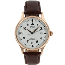 Replik IWC Pilot Mark XV Automatik Rose Gold Case mit White Dial-Leather Strap - Attraktive IWC Fliegeruhr für Sie 32413