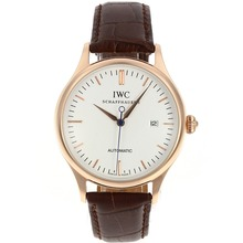 Repliki IWC Classic Automatic Rose Gold Case with White Dial-Leather Strap – Attractive IWC Others Watch for You 32412