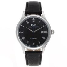 Repliki IWC Classic Automatic Roman Markers with Black Dial-Leather Strap – Attractive IWC Others Watch for You 32405