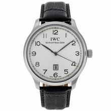 Repliki IWC Pilot Number Markers with White Dial-Leather Strap – Attractive IWC Pilot Watch for You 32294