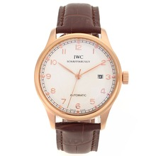 Replik IWC Portugieser Automatic Number Markers Rose Gold Case mit White Dial-Leather Strap - Attraktive IWC Portugieser Uhr für Sie 32272