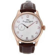 Replik IWC Portugieser Automatic Rose Gold Case Number Marker mit White Dial-Leather Strap - Attraktive IWC Portugieser Uhr für Sie 32121