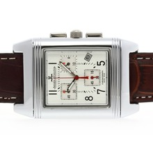 Replik Jaeger-LeCoultre Reverso Working Chronogragh mit White Dial-Leather Strap - Attraktive Jaeger-LeCoultre Reverso Uhr für Sie 34019