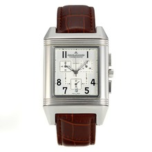 Replik Jaeger-LeCoultre Reverso Working Chronograph mit White Dial-Leather Strap - Attraktive Jaeger-LeCoultre Reverso Uhr für Sie 34002