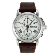 Replik Montblanc Star Chronograph Arbeitsgruppe mit White Dial-Leather Strap - Attraktive Montblanc Star Watch for You 35577