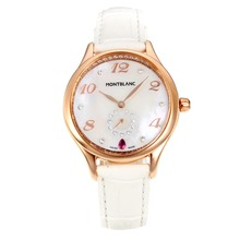 Replik Montblanc Princesse Grade Grace de Monaco Rose Gold Case mit White Dial-Saphirglas-White Leather Strap 35497