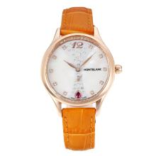 Replik Montblanc Princesse Grade Grace de Monaco Rose Gold Case mit White Dial-Saphirglas-Brown Leather Strap 35493