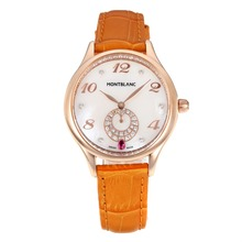 Replik Montblanc Princesse Grade Grace de Monaco Rose Gold Case mit White Dial-Saphirglas-Brown Leather Strap 35492