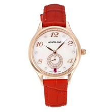 Replik Montblanc Princesse Grade Grace de Monaco Rose Gold Case mit White Dial-Saphirglas-Red Leather Strap 35487