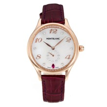 Replik Montblanc Princesse Grade Grace de Monaco Rose Gold Case mit White Dial-Saphirglas-Purple Leather Strap 35483
