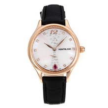 Replik Montblanc Princesse Grade Grace de Monaco Rose Gold Case mit White Dial-Saphirglas-Black Leather Strap 35482