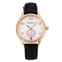 Replik Montblanc Princesse Grade Grace de Monaco Rose Gold Case mit White Dial-Saphirglas-Black Leather Strap 35481