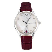 Replik Montblanc Princesse Grade Grace de Monaco mit White Dial-Sapphire Glass-Dark Brown Leather Strap 35479