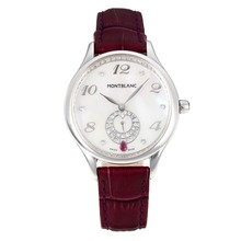 Replik Montblanc Princesse Grade Grace de Monaco mit White Dial-Sapphire Glass-Dark Brown Leather Strap 35478