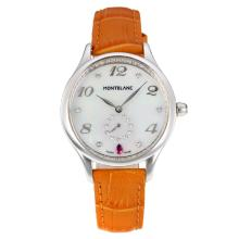 Replik Montblanc Princesse Grade Grace de Monaco mit White Dial-Saphirglas-Brown Leather Strap 35466