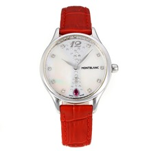 Replik Montblanc Princesse Grade Grace de Monaco mit White Dial-Saphirglas-Red Leather Strap 35463