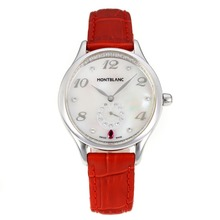 Replik Montblanc Princesse Grade Grace de Monaco mit White Dial-Saphirglas-Red Leather Strap 35462