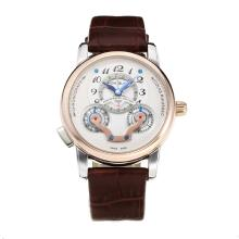 Replik Montblanc Nicolas Rieussec Automatic Rose Gold Case mit White Dial-Leather Strap 35417
